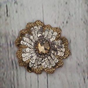 VINTAGE MADE IN INDIA SEQUIN FLOWER BARRETTE